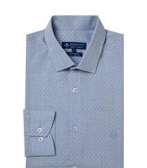 camisa dudalina manga longa fil a fil maquinetada masculina (azul medio, 48)