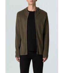 sweater tricot zipped hood-militar/preto