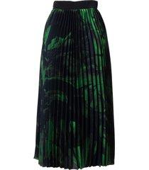 off-white green brush stroke plisse skirt