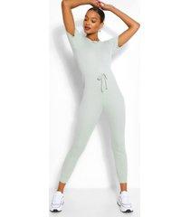 zachte geribbelde jumpsuit met joggingbroek met elastische taille band, salie