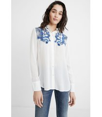 embroidered paisley shirt - white - xxl