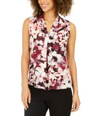 nine west floral-print v-neck blouse