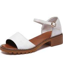 verano mujer peep toes zapatos tobillo sandalias elegantes zapatos de tacón chunky