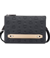 mcm klara monogrammed leather pouch - black
