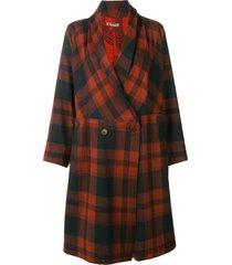 issey miyake pre-owned belted plaid coat - brown