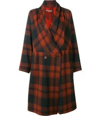 issey miyake pre-owned belted plaid coat - brown