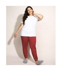 pijama feminino plus size com estampa de corações manga curta vermelho escuro