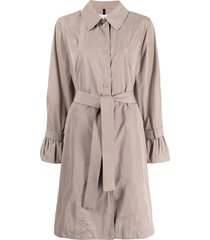 moncler lebris flared-cuff trench coat - brown