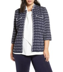 plus size women's ming wang braided chain trim knit jacket