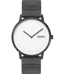 hugo men's #echo gray stainless steel bracelet watch 40mm