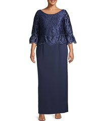 js collections women's plus floral lace-top peplum gown - navy - size 14