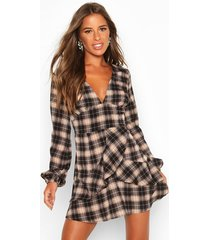 petite frill blouson sleeve flannel dress, black