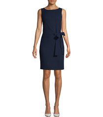 self-tie wool blend sheath dress