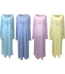 ladies thin vintage long sleeve victorian viscose full length nightdress nightie