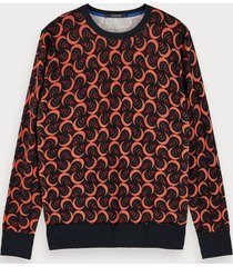 scotch & soda sweater met print van katoen en wol