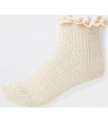 river island womens gold frill cable knit socks