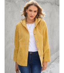 yoins abrigo de manga larga con capucha de pana amarilla diseño