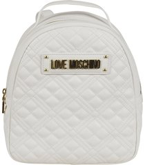 love moschino logo plaque quilted chain backpack