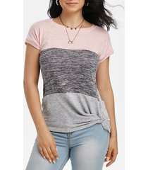 colorblock batwing sleeve twisted t-shirt