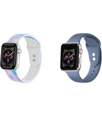 unisex pink tie dye and atlantic blue 2-pack replacement band for apple watch, 42mm