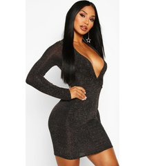 knot front glitter long sleeve mini dress, gold