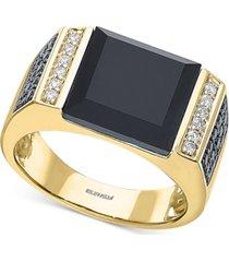 effy men's black agate & diamond (5/8 ct. t.w.) ring in 14k gold