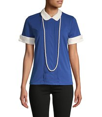 pleated peter pan collar top