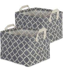design imports polyethylene coated cotton polyester laundry bin lattice rectangle small set of 2