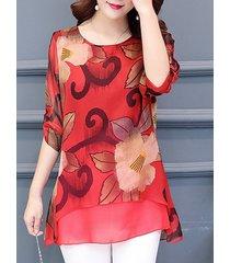 camicetta in chiffon a mezza manica stampata per donna