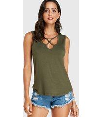 yoins army green scoop cuello camiseta sin mangas cruzada