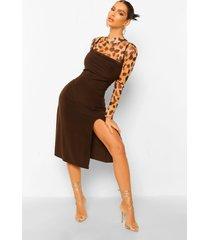 luipaardprint mesh top en slip jurk, chocolate