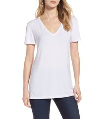halogen(r) v-neck tunic t-shirt, size large in white at nordstrom