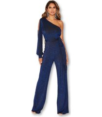 ax paris women's one shoulder split sleeve sparkle jumpsuit
