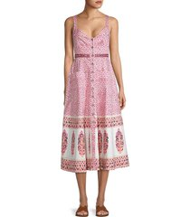 saloni women's printed stretch-cotton dress - pink india - size 2