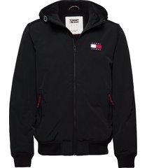 tjm padded nylon jacket hoodie trui zwart tommy jeans