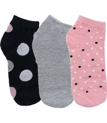 kit meia soquete stz tres pares 34 ao 39 poa color - multicolorido - feminino - dafiti