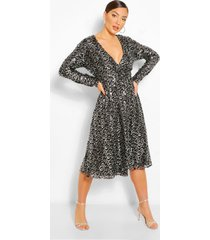 boutique midi-jurk met lovertjes en wikkelstijl, zwart