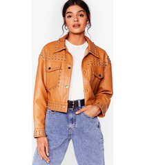 womens tell me about it stud faux leather shirt jacket - camel