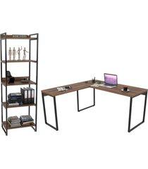 conjunto escritã³rio estilo industrial mesa 150x150cm e estante 60cm 5 prateleiras prisma nogal - mpo - marrom - dafiti