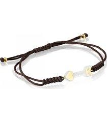 pulsera san valentín flecha de oro, nácar y cordón marrón