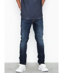 nudie jeans lean dean dark deep worn jeans blue