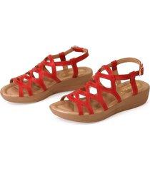 sandália gladiadora anabela em couro vermelho italeoni