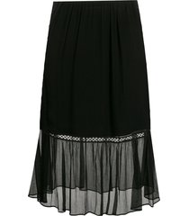 mcq swallow sheer embroidered skirt - black
