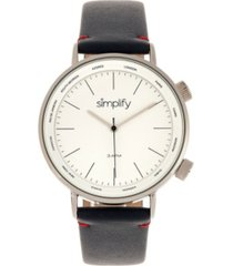 simplify quartz the 3300 white dial, genuine navy leather watch 43mm