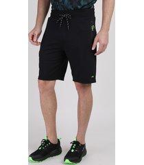 bermuda de moletom masculina esportiva ace com bolsos e cordão preta