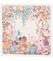 salvatore ferragamo floral gancini print silk scarf in beige/ivory at nordstrom