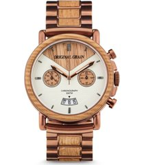original grain mens chronograph reclaimed whiskey barrel wood in espresso stainless steel 44mm watch