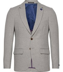 classic single-breasted neps wool-blend blazer blazer colbert grijs scotch & soda