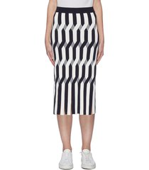 fringe hem interlocking pattern jacquard skirt