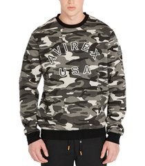 avirex men's regular-fit camouflage fleece logo sweatshirt